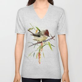 Beautiful Bird artwork, Yuhina Bird, Olive green Brown bird art Unisex V-Neck