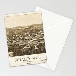 Aerial View of Hurley, Wisconsin (1886) Stationery Cards