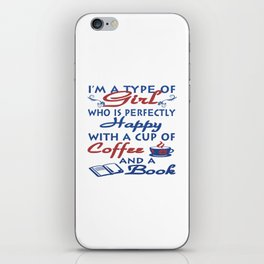 Girl with a cup of coffee and a book iPhone Skin