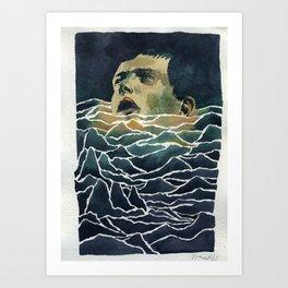 Drowning in Brainwaves- Portrait of Ian Curtis 2 Art Print