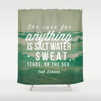 salt water Shower Curtains featuring Salt Water Cure by Olivia Joy StClaire