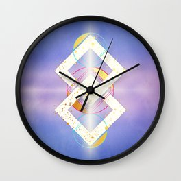 Linked Lilac Diamonds :: Floating Geometry Wall Clock