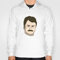 ron swanson Hoodies featuring Ron Swanson by irosebot