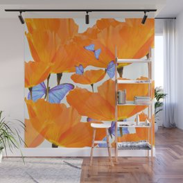 Poppies And Butterflies White Background #decor #society6 #buyart Wall Mural