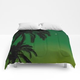 Tropical Palm Tree Silhouette Green Ombre Sunset Crescent Moon At Night Comforters