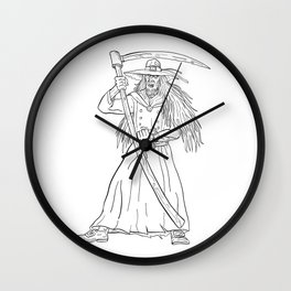 Ankou Graveyard Watcher With Scythe Drawing Black and White Wall Clock
