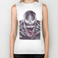 venom Biker Tanks featuring Venom by DeMoose_Art