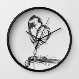 Butterfly Black Ink Drawing Wall Clock
