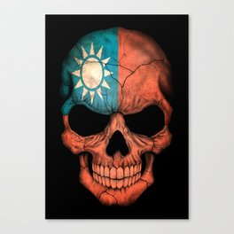 Dark Skull with Flag of Taiwan Canvas Print