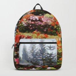 Beautiful garden in a misty day Backpack