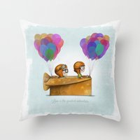 adventure Throw Pillows featuring UP Pixar — Love is the greatest adventure  by Ciara Ni Dhuinn