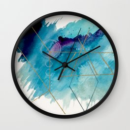 Galaxy Series 1 - a blue and gold abstract mixed media set Wall Clock
