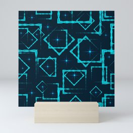 Blue rhombuses and squares at the intersection with stars on a dark background. Mini Art Print