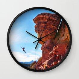 Rock Climber Swinging at Red Rock Canyon Wall Clock