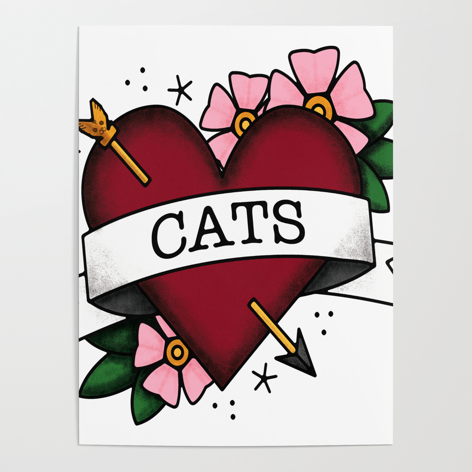 9bff3d973 I Love Cats and Tattoos Sailor Jerry Style Tattoo Heart Poster by ...
