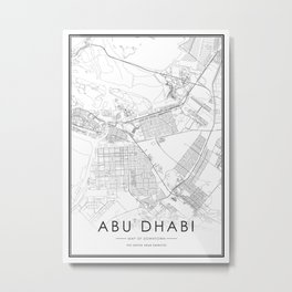 Dhabi City Map The United Arab Emirates White and Black Metal Print