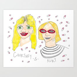 Kurt and Courtney with Braces Art Print