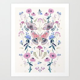 Lilac Butterfly and Flowers Art Print