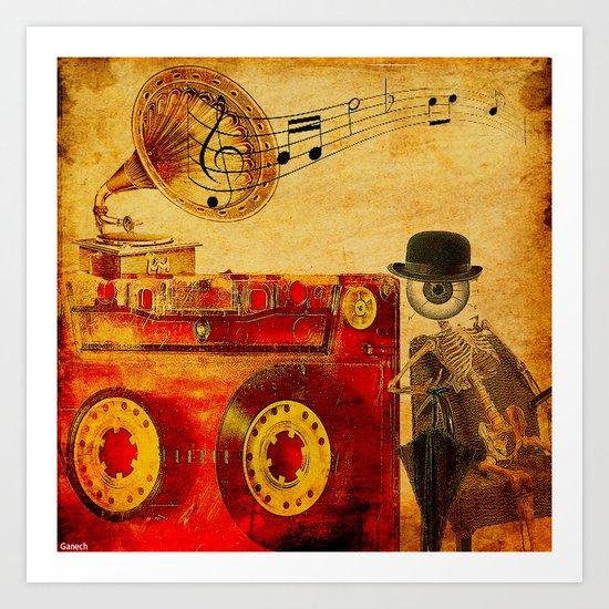Monsieur Bone loves Music Art Print