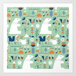 Forest animals Art Print