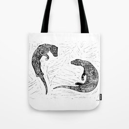 Swimming Otters Linoprint Tote Bag