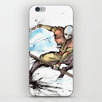 airbender iPhone & iPod Skins featuring Aang from Avatar the Last Airbender sumi/watercolor by mycks