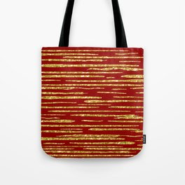 Gold and red abstract lines pattern Tote Bag