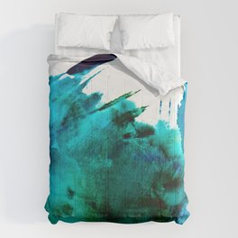 Crashing Waves: a vibrant minimal abstract design in blue, green, and white by Alyssa Hamilton Art  Comforters