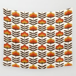 Boogie - retro florals minimal trendy 70s style throwback flower pattern Wall Tapestry