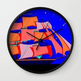 A Clipper Ship at Sea Full Sail at Night under the Stars Wall Clock