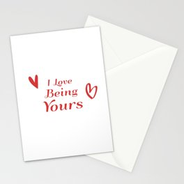 I Love Being Yours - Red Heart Doodle Pattern Stationery Cards