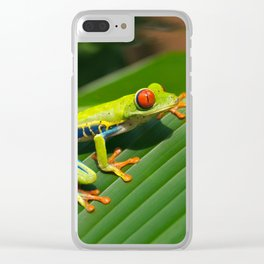Green Tree Frog Red-Eyed Clear iPhone Case