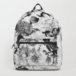 Black gray modern watercolor roses floral pattern Backpack