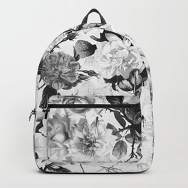 Black gray modern watercolor roses floral pattern Backpack