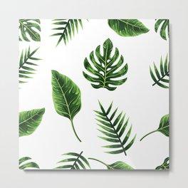 Palm tree leaves seamless pattern Metal Print