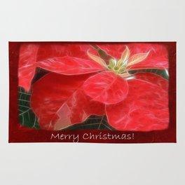 Mottled Red Poinsettia 1 Ephemeral Merry Christmas P5F5 Rug
