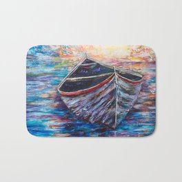 Wooden Boat at Sunrise - original oil painting with palette knife Bath Mat