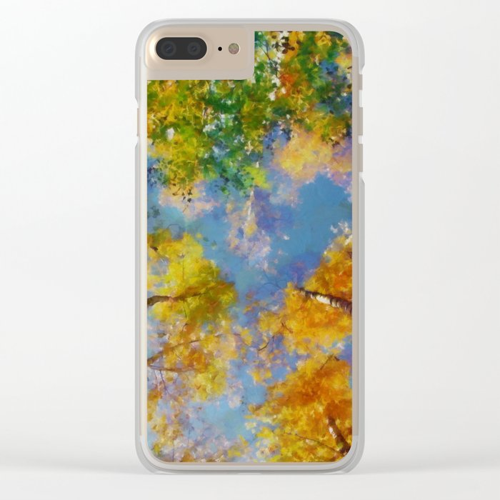 Fall trees in the sky Clear iPhone Case