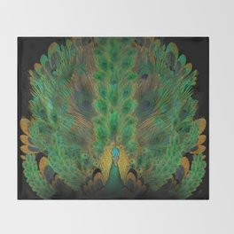 """""""Emerald and black peacock"""" Throw Blanket"""