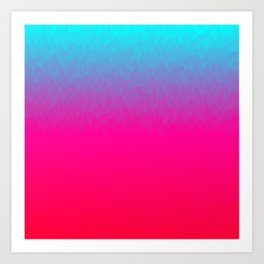 Blue purple and pink ombre flames Art Print