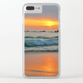 Golden sunset with turquoise waters Clear iPhone Case