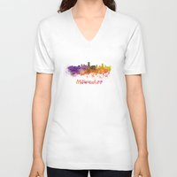 milwaukee V-neck T-shirts featuring Milwaukee skyline in watercolor by Paulrommer