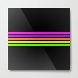 Minimal Abstract Retro Stripes 80s Neon Style - Nena Metal Print