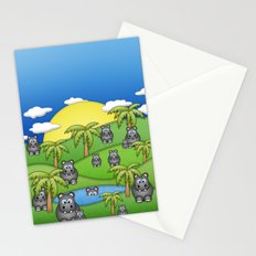 Hippos. Stationery Cards