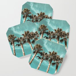 Tropical Palm Tree Photography {1 of 2} | Teal Blue Sky Wind Blown Clouds Coaster