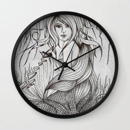 Monochromatic Mermaid Wall Clock
