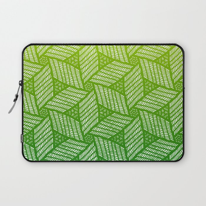 Japanese style wood carving pattern in green laptop sleeve by
