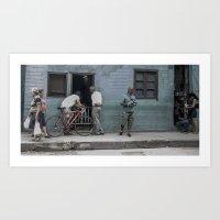 Street Scene With Bicycle, Havana Art Print