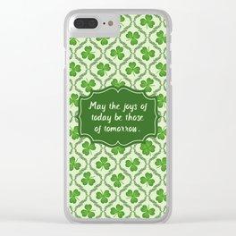 Irish Blessing Shamrocks Pattern Clear iPhone Case