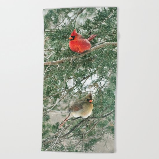 Tree for Two (Northern Cardinals) Beach Towel